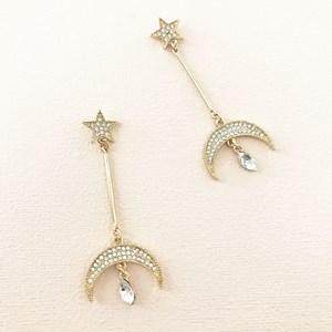 Diamante Crescent Drop Star Stud Earring