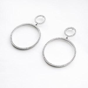 Diamante Double Circle Drop Earring