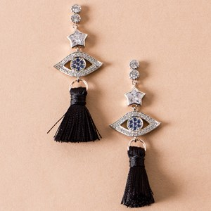 Diamante Eye & Star Tassel Drop Earring