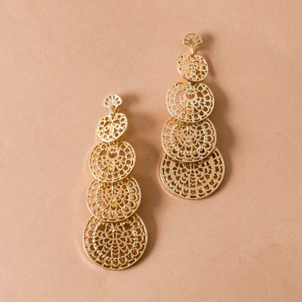 Filigree Layered Disks Drop Earring