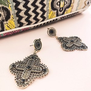 Roman Filigree Cross Drop Earring