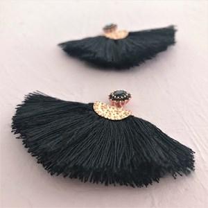 Cotton Fringe Diamante Top Earring