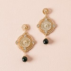 Filigree Disk & Bead Drop Earring
