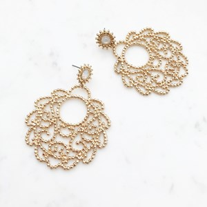 Textured Metal Filigree Drop Earring