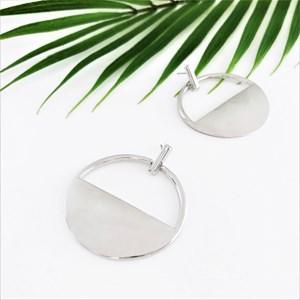 Polished Metal Half Circle Drop Earring