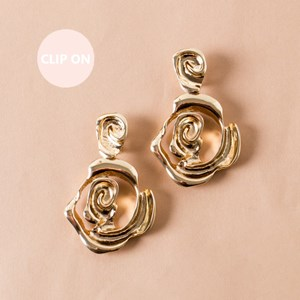 Abstract Rose Drop Clip On Earring