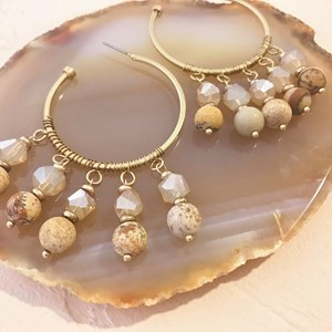 Bead & Crystal Drops Open Hoop Earring