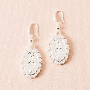 Saint Oval Charm Hook Earring