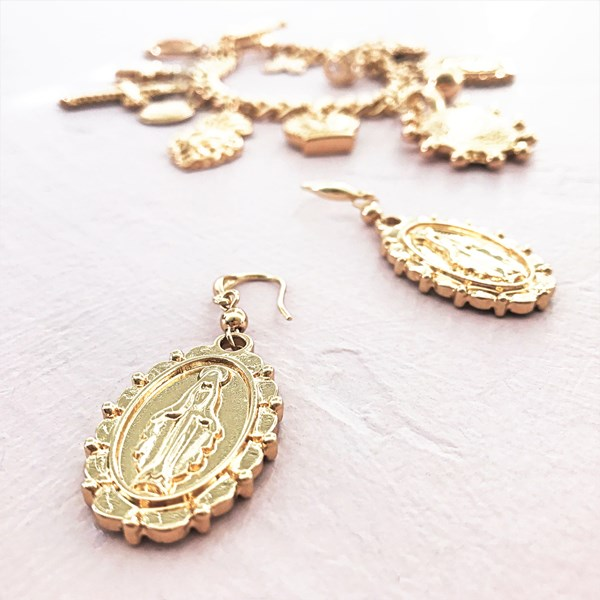 Saint Oval Charm Hook Earring