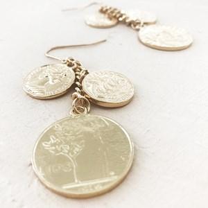 Coins Chain Drop Hook Earring