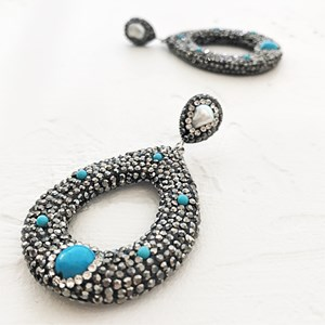 Pearl Diamante Encrusted Teardrop Earrings