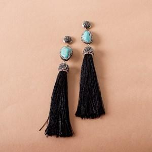 Turqouise Diamante Tassel Drop Earrings
