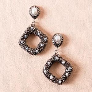 Pearl Diamante Diamond Drop Earrings