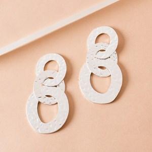 Beaten Rings Link Earrings