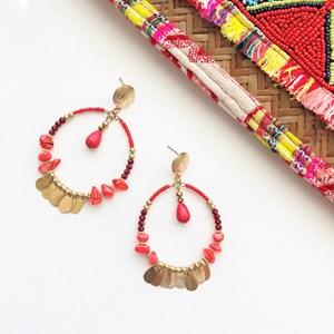 Beaded Circles Droplets Earrings