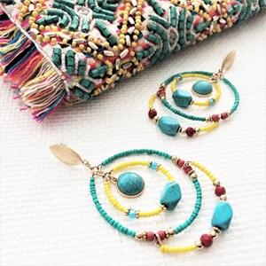 Stone Beaded Rings Earrings
