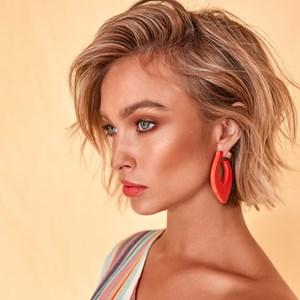 Geo Resin Ball Back Earrings