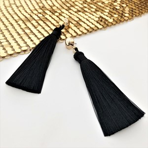Button Top Long Tassel Earrings