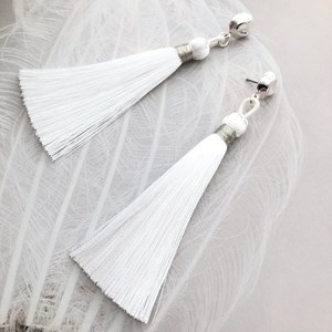 Button Top Long Tassel Earrings