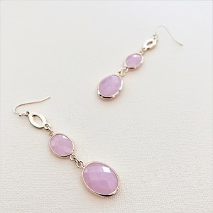 Facet Glass Drop Hook Earrings