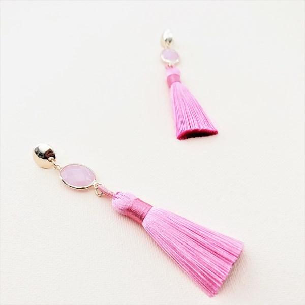 Button Top Glass Tassel Earrings