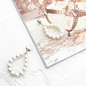 Faux Pearl Ring Button Top Earrings