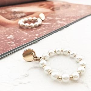 Button Top Faux Pearl Bead Earrings
