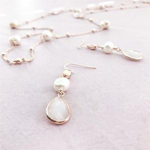 Pearl Glass Facet Drop Earrings