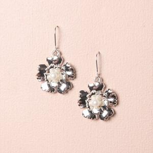 Metal Floral Hook Earrings