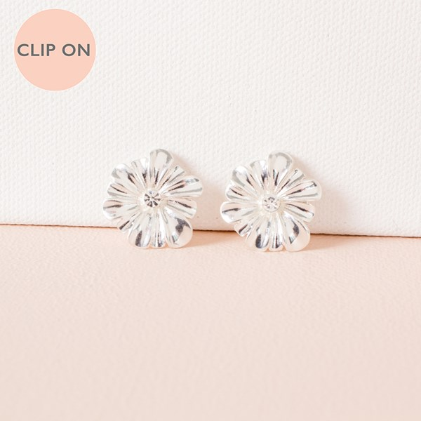 Metal Floral Clip On Earrings