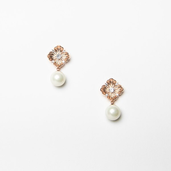 Flower Top Pearl Drop Earrings