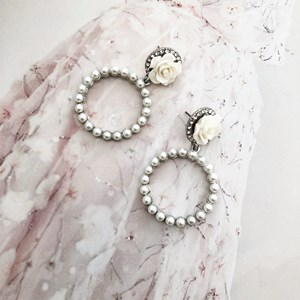 Pearl Ring Flower Top Earrings