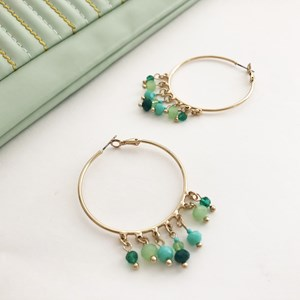 Beaded Drops Hoop Earrings