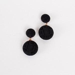 Woven Button Drop Earrings