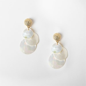 Layered Mother of Pearl Clip On Earrings