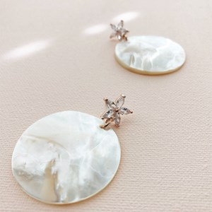 Diamante Mother of Pearl Stud Earrings