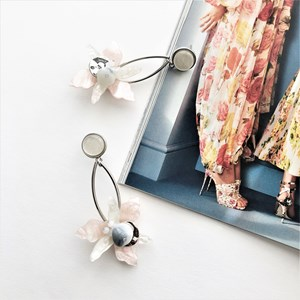 Flower Detail Resin Drop Earrings