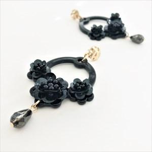 Resin Floral Rings Post Earrings