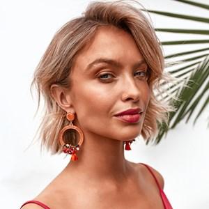 Floral Tassel Resin Ring Earrings