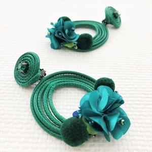 Garden Party Cord Pom Pom Clip On Earrings