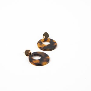 Cut Out Resin Metal Button Top Earrings