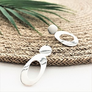 Oval Cut Out Button Top Earrings