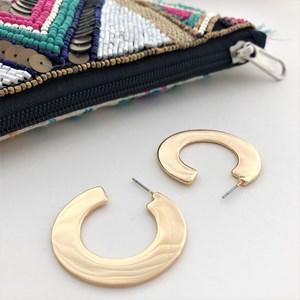 Flat Curved Hoop Front Earrings
