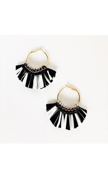 Diamante Raffia Hoop Earrings