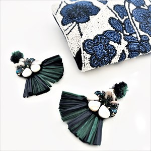 Raffia Fringe Beaded Earrings