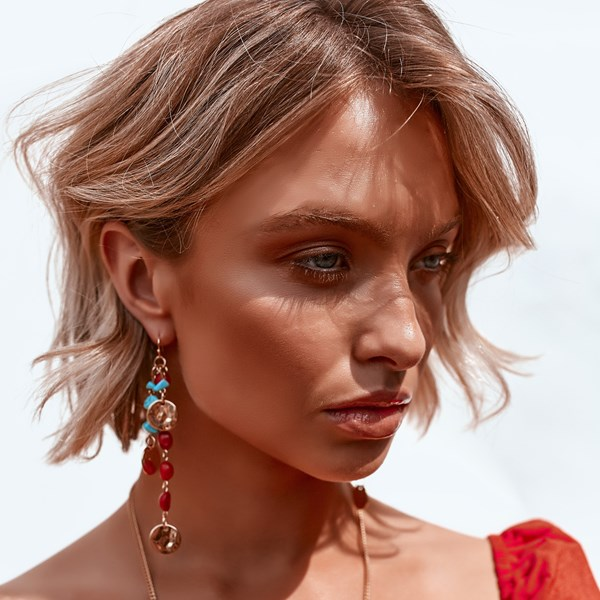 Stone Chips & Metal Discs Drop Hook Earrings