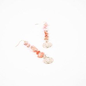 Coral Chips Clover Charm Hook Earrings