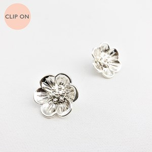 Metal Daisy Clip On Earrings