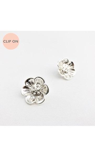 Metal Daisy Clip On Earrings