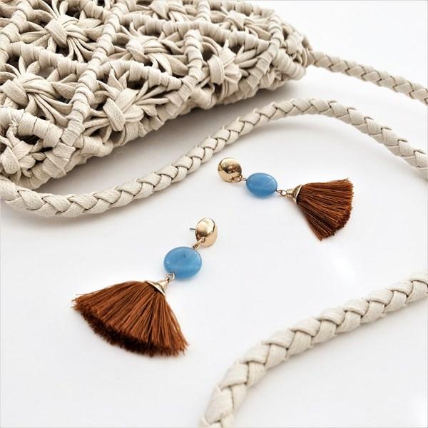 Semi Precious Stone & Tassel Mid Drop Earrings